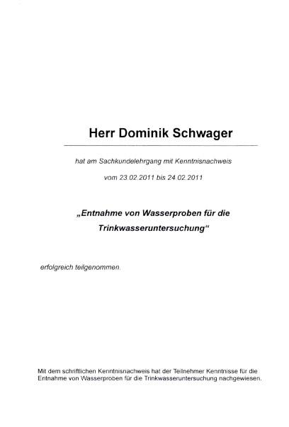 Teilnahmebescheinigung für Sachkundelehrgang - Entnahme von Wasserproben für die Trinkwasseruntersuchung - Dominik Schwager