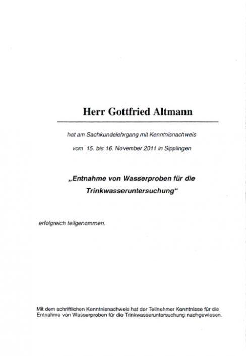Teilnahmebescheinigung für Sachkundelehrgang - Entnahme von Wasserproben für die Trinkwasseruntersuchung - Gottfried Altmann