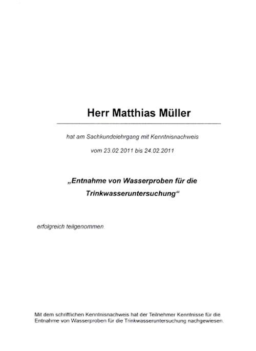 Teilnahmebescheinigung für Sachkundelehrgang - Entnahme von Wasserproben für die Trinkwasseruntersuchung - Matthias Müller
