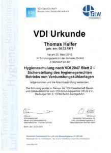 Urkunde zur Teilnahme - Hygieneschulung VDI 2047 - Sicherstellung des hygienegerechten Betriebs von Verdunstungskühlanlagen - Thomas Helfer
