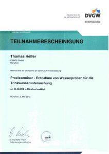 Teilnahmebescheinigung - Praxisseminar Entnahme von Wasserproben für die Trinkwasseruntersuchung - Thomas Helfer
