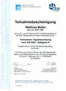 Teilnahmebescheinigung - Trinkwasser-Hygieneschulung nach VDI 6023 - Matthias Müller