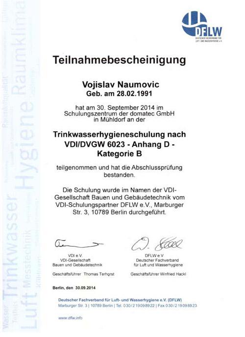 Teilnahmebescheinigung - Trinkwasser-Hygieneschulung nach VDI 6023 - Vojislav Naumovic
