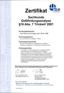 Zertifikat zur Teilnahme - Sachkunde Gefährdungsanalyse § 16 Abs. 7 TrinkwV 2001 - Dominik Schwager