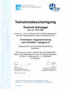 Teilnahmebescheinigung - Trinkwasser-Hygieneschulung nach VDI 6023 - Dominik Schwager