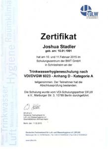 Zertifikat zur Teilnahme - Trinkwasserhygieneschulung nach VDI/DVGW 6023 - Joshua Stadler