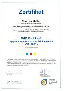 Zertifikat zur Teilnahme - SHK Fachkraft, Hygiene und Schutz des Trinkwassers VDI 6023 - Thomas Helfer
