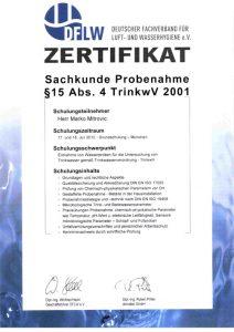 Zertifikat zur Teilnahme - Sachkunde Probenahme § 15 Abs. 4 TrinkwV 2001 - Marko Mitrovic