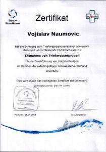 Zertifikat zur Teilnahme - Entnahme von Trinkwasserproben - Vojislav Naumovic