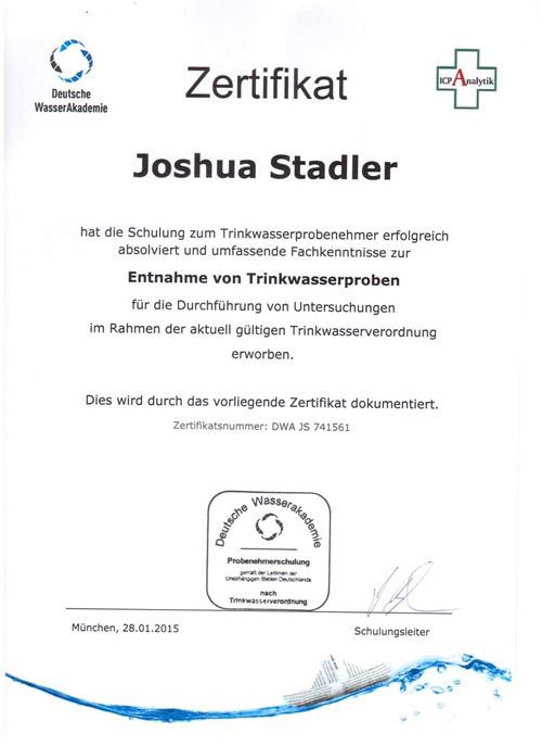 Zertifikat zur Teilnahme - Entnahme von Trinkwasserproben - Joshua Stadler